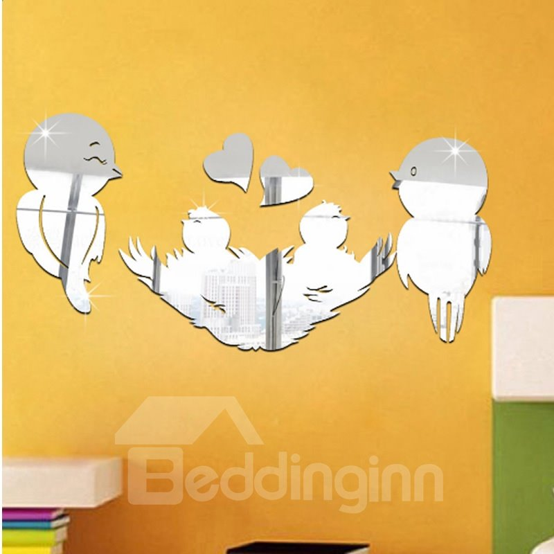 9×18in Birds and Heart Shapes Mirror Waterproof and Eco-friendly 3D Wall Stickers