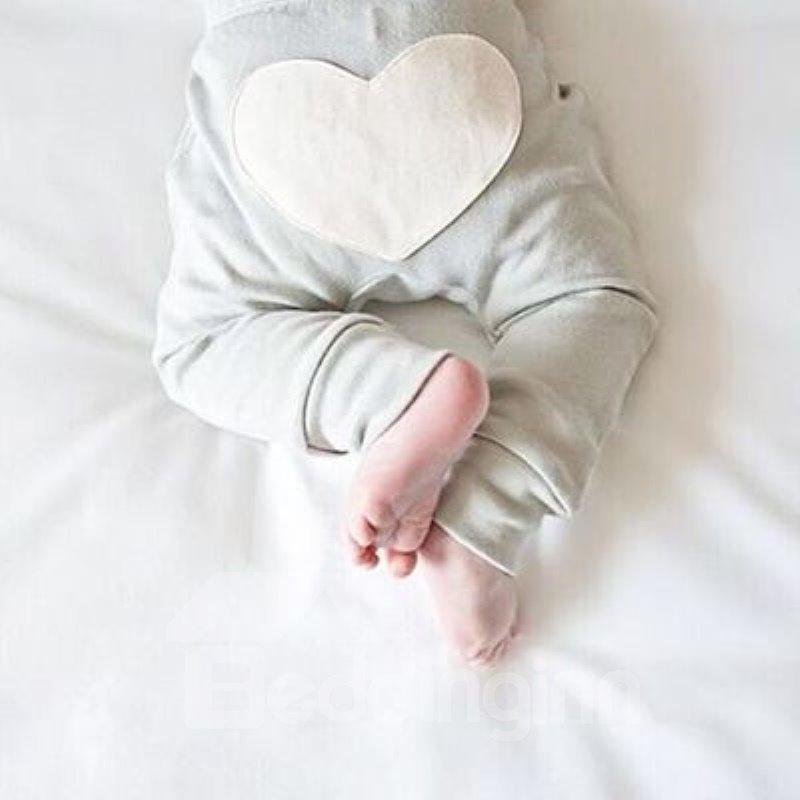 Heart Shape Printed Cotton Pure Color Baby Pants