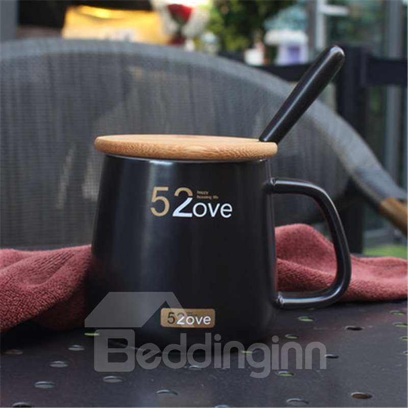 Black and White Mugs Creative Gift 520 Couples Cups Tea and Coffee Mugs with Cover and Spoon
