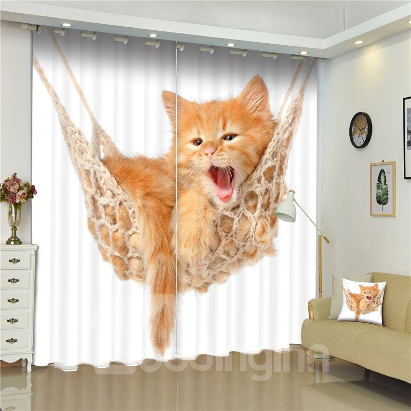 3D Lovely Cat Printed Animal Style Thick Polyester 2 Panels Decorative and Shading Curtain