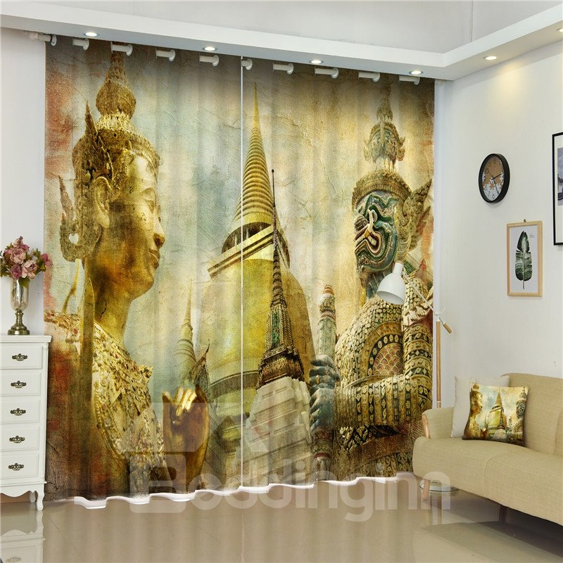 3D Buildings and Sculptures Printed Exotic Style Decorative and Blackout Room Curtain