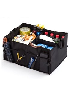 High Capacity Oxford Cloth Folding Black Trunk Organizer