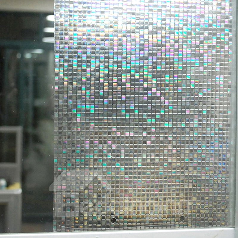 Grid Design Self-Adhesive PVC Decorative Glass Wall Stickers