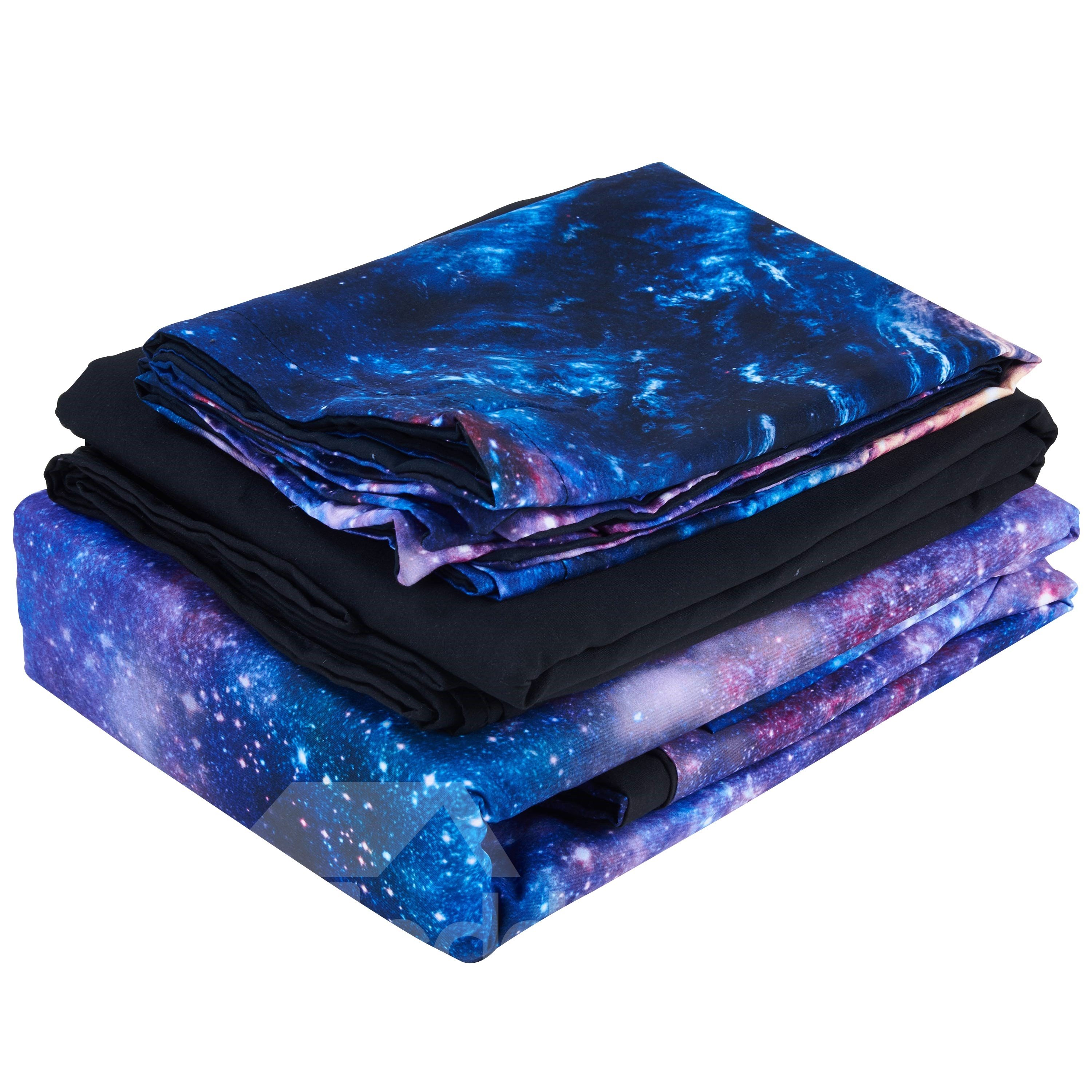 Whirlpool Galaxy Printed Cotton 3D 4-Piece Bedding Sets/Duvet Covers
