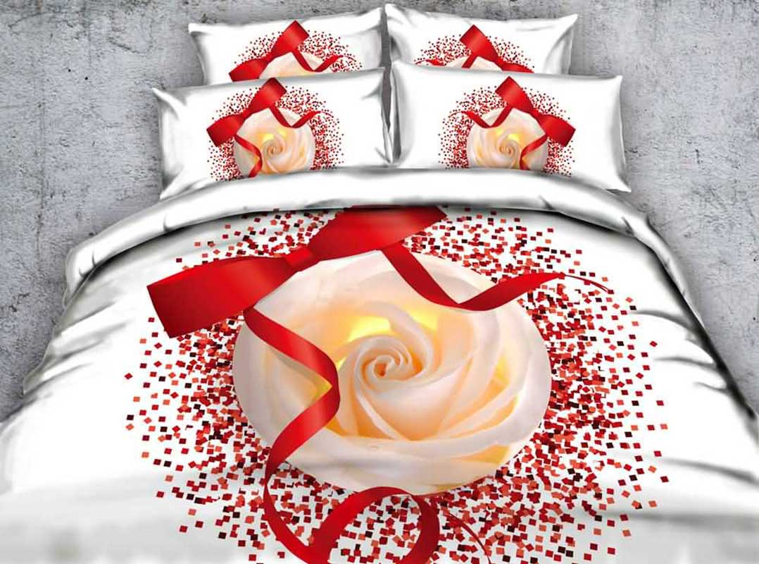 3D Red Ribbon and Rose Printed Cotton 4-Piece White Bedding Sets/Duvet Covers