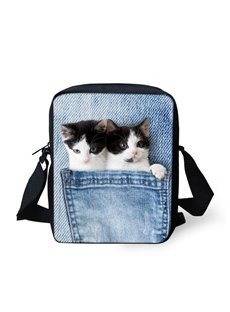 3D Animals Double Cat Jeans Pattern Messenger Bag School Bag