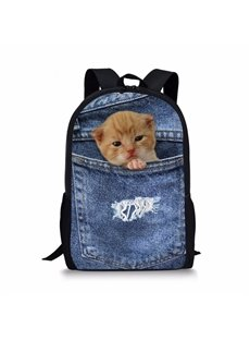 3D Animals Orange Cat Fashion Pattern School Outdoor Backpack