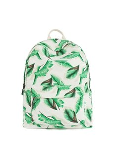 Green Leaf Tropical Pattern Waterproof Travel School Shoulder Bag