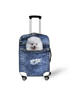 3D Jeans Style Pomeranian Waterproof Suitcase Protector for 19 20 21