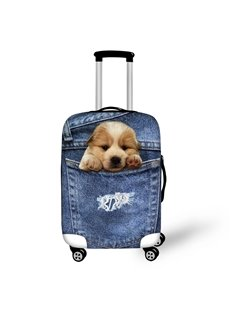 3D Jeans Little Golden Retriever Pattern Waterproof Suitcase Protector for 19 20 21