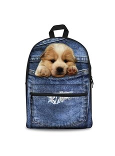 Design 3D Golden Retriever Fashion Pattern School Outdoor Backpack