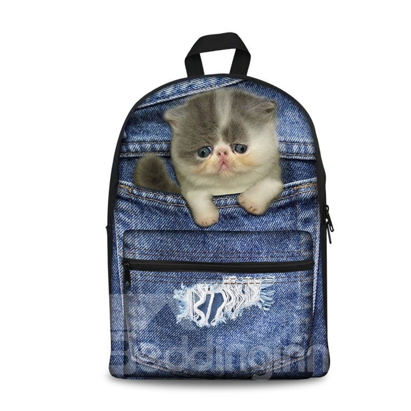 3D Cat Design Fashion Pattern School Outdoor Backpack