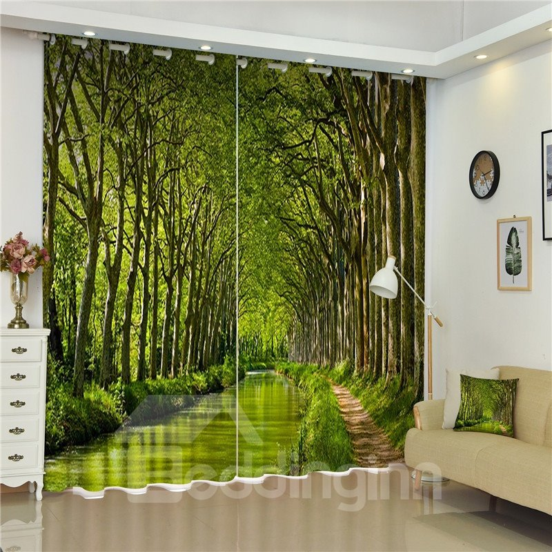 3d Green Towering Trees Small Road Printed Thick Polyester Pic