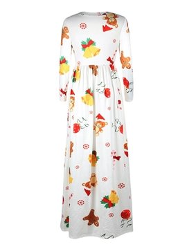 3D Pattern Christmas White Bear Long Evening Party Cocktail Dress