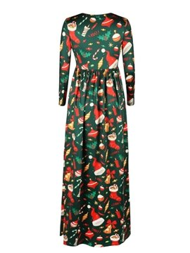 3D Pattern Christmas Tree Long Evening Party Cocktail Dress