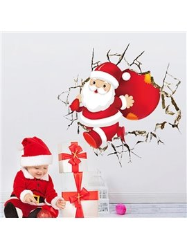 Father Christmas Pattern PVC Waterproof Durable and Eco-friendly 3D Wall Stickers