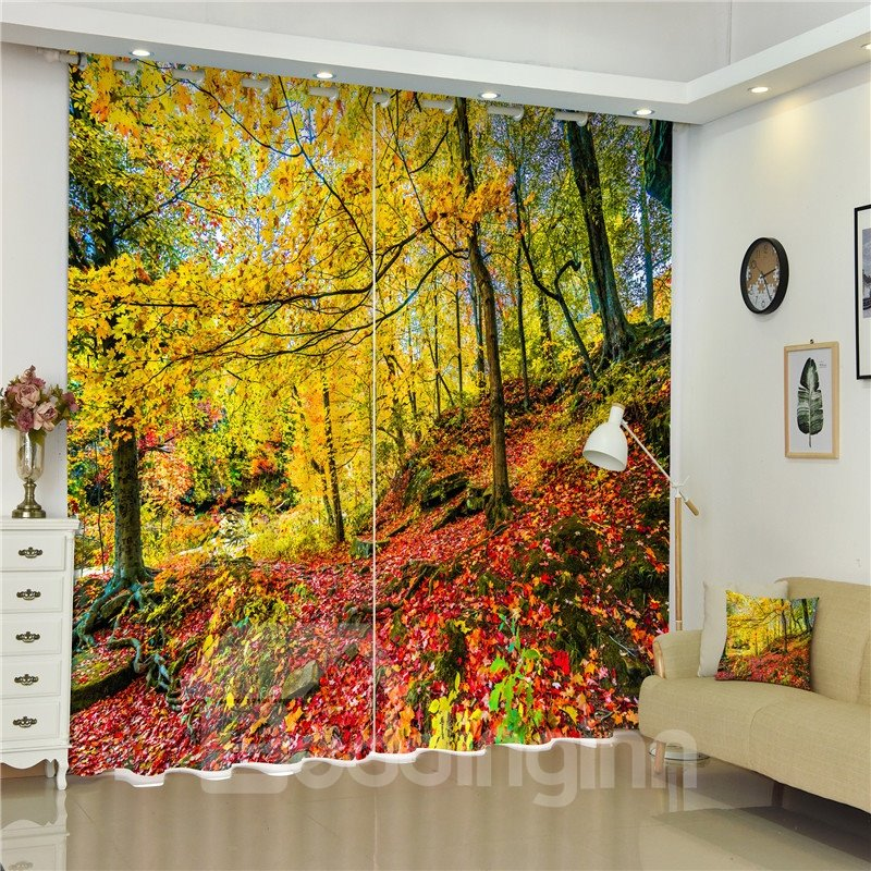 3D Mustard Yellow Leaves and Red Ground Printed Autumn Scenery Living Room and Bedroom Curtain