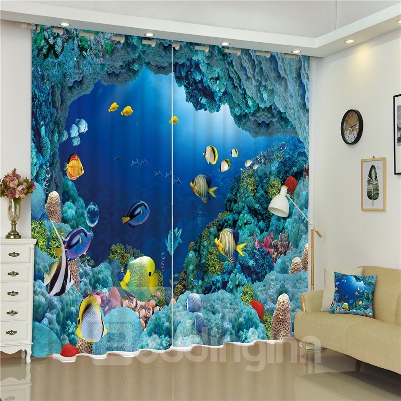 Wonderful and Happy Under Sea World 3D Decorative and Blackout Living Room Curtain
