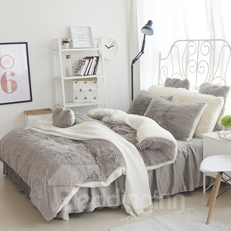 Fluffy Solid Gray And White Color Blocking 4 Bedding Sets