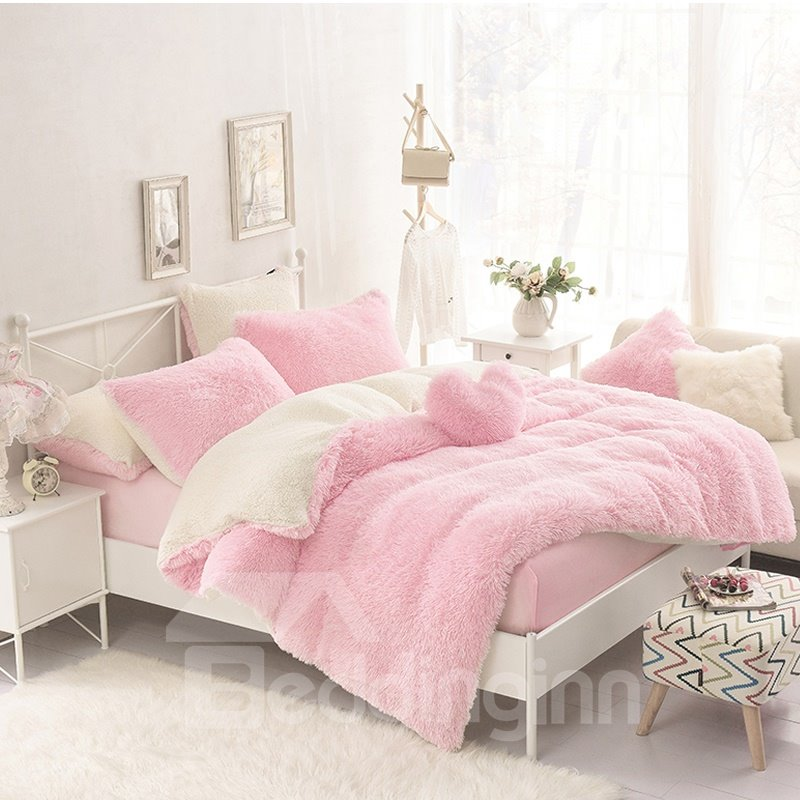 Solid Pink and Creamy White Color Block Fluffy 4-Piece Bedding Sets/Duvet Cover