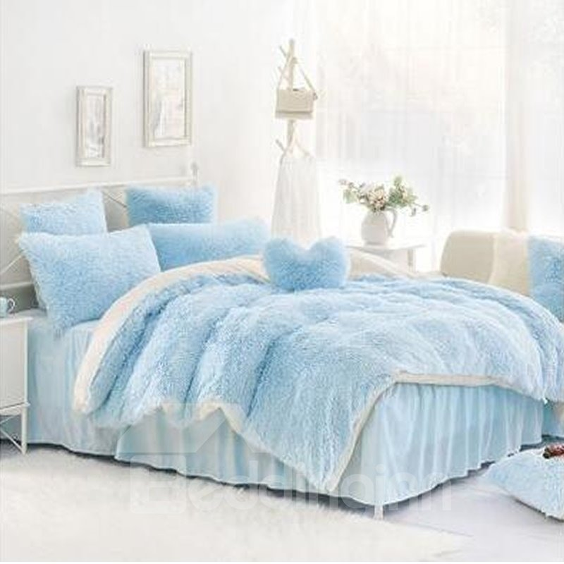 Solid Light Blue and White Color Blocking Fluffy 4-Piece Bedding Sets/Duvet Cover