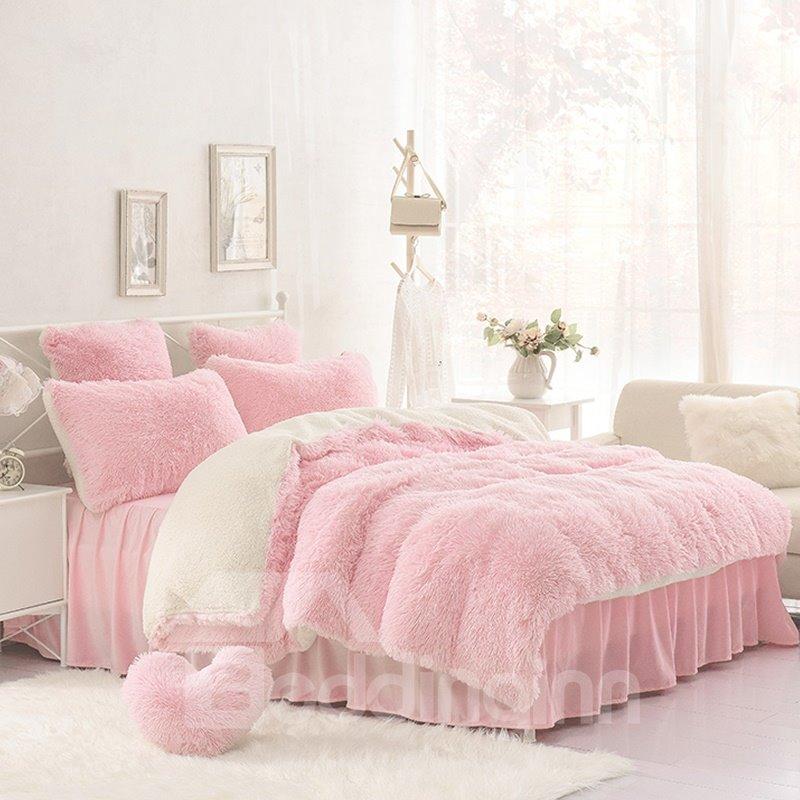 Solid Pink Cream White Fluffy 4pcs Warm Zipper Microfiber Pic