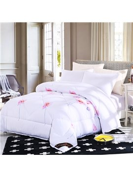 Flower Blooming Pattern Lacy Solid White Polyester Winter Thick Quilt
