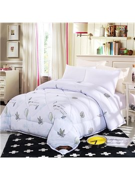Small Green Leaves Pattern Fresh Style White Feather Fabric Winter Quilt
