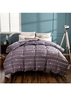 White Thin Stripes Pattern Modern Style Brown Feather Fabric Winter Quilt