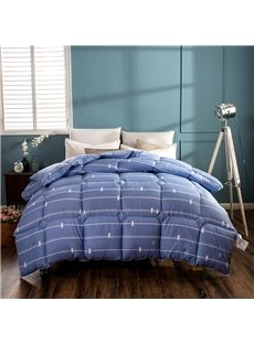White Thin Stripes Pattern Modern Style Blue Feather Fabric Winter Quilt