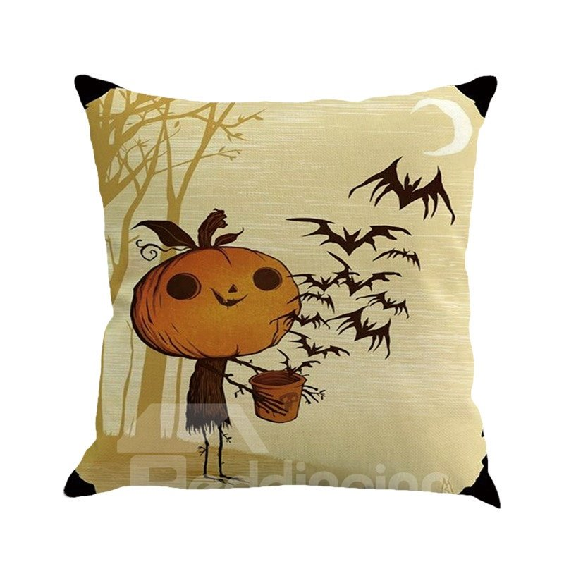 Halloween Pumpkin and Spider Pattern Square Linen Decorative Throw Pillows