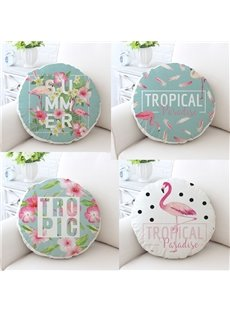 Flamingos and Tropical Plants Pattern Fresh Style Cotton Round Cushion/Throw Pillow