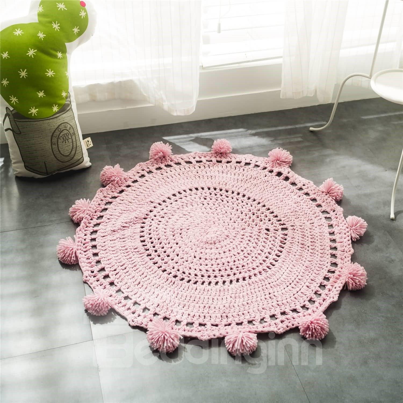 Ball of Yarn Design Acrylic Fibers Handmade Crochet Round Rug/Mat