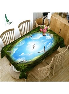 Brave Geese Flying to Blue Sky 3D Oil-Proof and Water-Proof Party and Home Table Cloth Cover