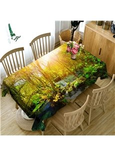 Dreamy Forest and Small River Home and Hotel 3D Table Runner Cloth Cover