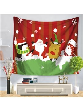 Christmas Dressing Snowman Penguin Deer and Santa Claus Red Decorative Hanging Wall Tapestry