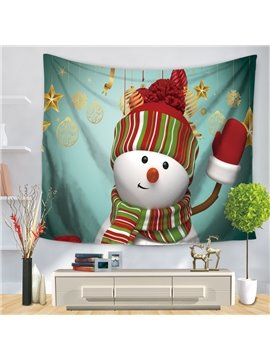 Christmas Dressing Snowman Saying Hello Green Decorative Hanging Wall Tapestry