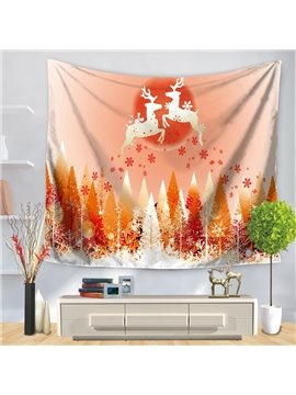 Merry Christmas with Deer and Snow-Covered Woods Decorative Hanging Wall Tapestry