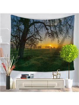 Sunset Lonely Verdant Tree with Green Field Natural Landscape Decorative Hanging Wall Tapestry