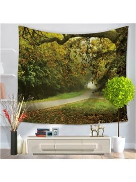 Sunset Verdant Tree and Paths Natural Landscape Decorative Hanging Wall Tapestry