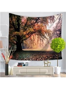 Sunset Verdant Tree Pattern Natural Landscape Decorative Hanging Wall Tapestry