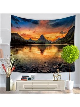 Sunset Clean Lake and Mountain's Shadow Natural Landscape Decorative Hanging Wall Tapestry