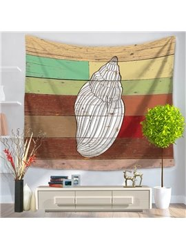 White Conch Pattern Colorful Stripes Rustic Style Decorative Hanging Wall Tapestry