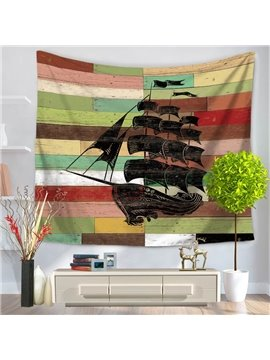 Black Sailing Boat Voyaging Pattern Vintage Style Decorative Hanging Wall Tapestry