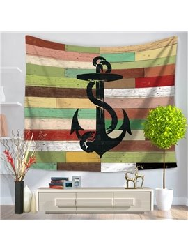 Sailing Boat Voyaging Black Anchor Pattern Vintage Style Decorative Hanging Wall Tapestry