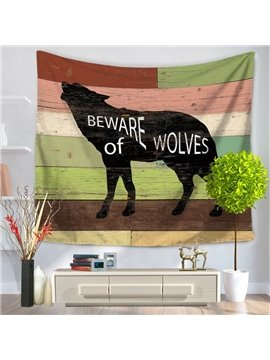 Black Howling Wolf Pattern Rustic Style Decorative Hanging Wall Tapestry