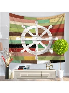 Sailing Boat Voyaging White Rudder Pattern Vintage Style Decorative Hanging Wall Tapestry