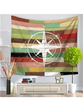 Sailing Boat Voyaging White Compass Pattern Vintage Style Decorative Hanging Wall Tapestry