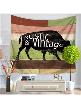 Black Cow with Rustic and Vintage Letters Stripes Decorative Hanging Wall Tapestry