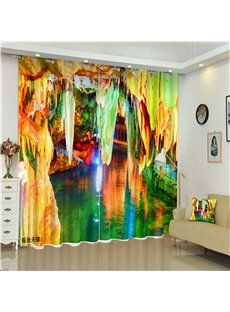 3D Colorful Huge Carve Printed Mysterious Scenery Window Decoration Shading Curtain